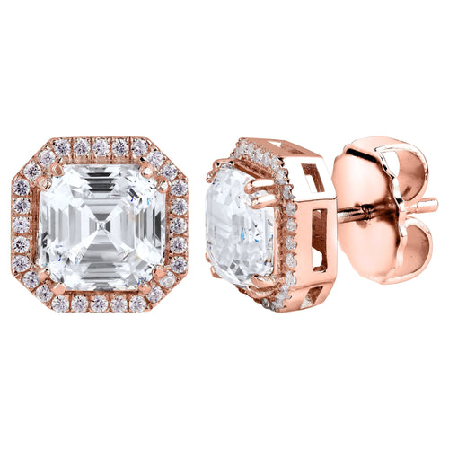 18 KGP Rose Gold 3 Carat Clear Asscher Cut Studs with Halo