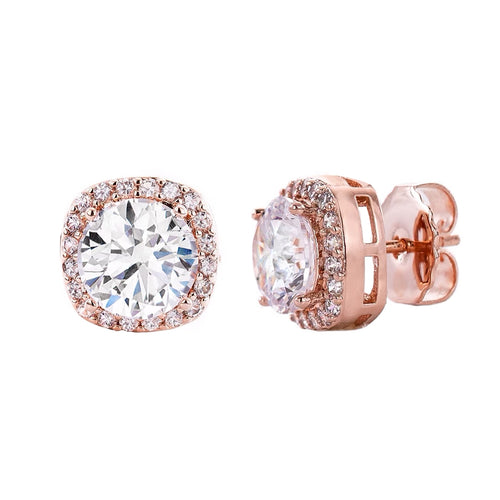 18 KGP Rose Gold 3 Carat Clear Cushion Cut Studs