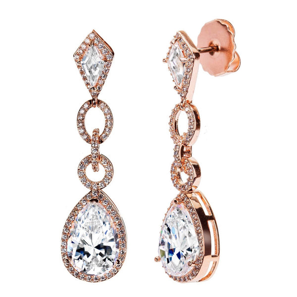 18 KGP Rose Gold Clear Royal Occasion Teardrops