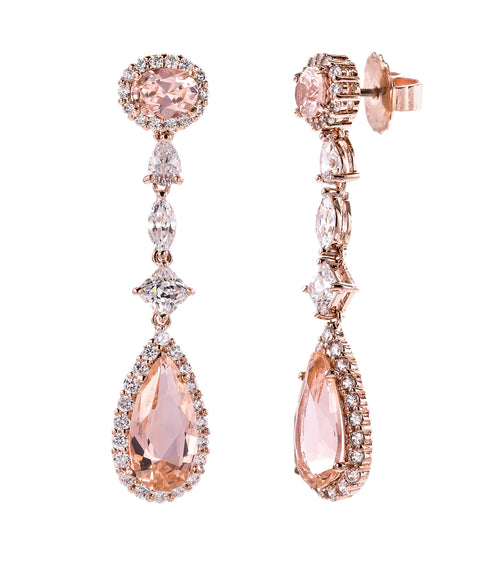 18 KGP Rose Gold Morganite Hued Regal Teardrops