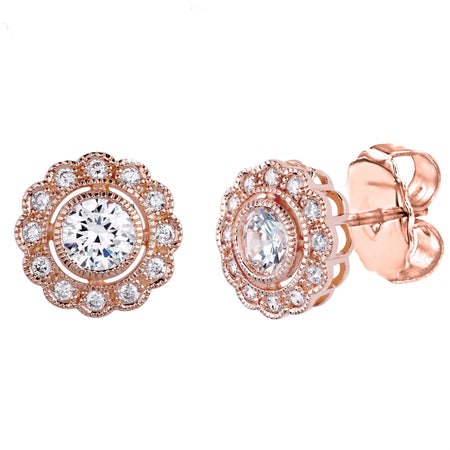 18 KGP Rose Gold Small Large Stone Couture Hoops