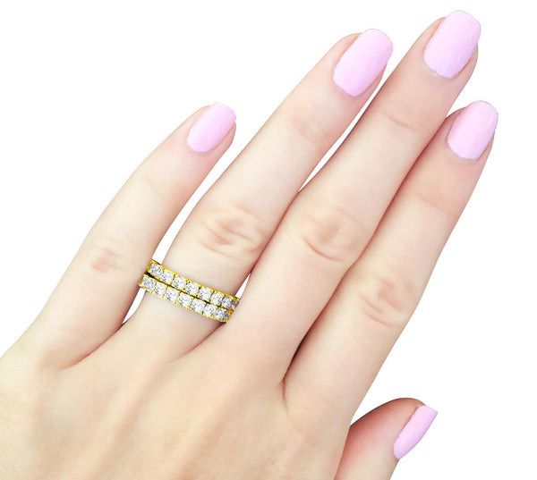 18 KGP 2.75mm Thin Round Eternity Ring Band