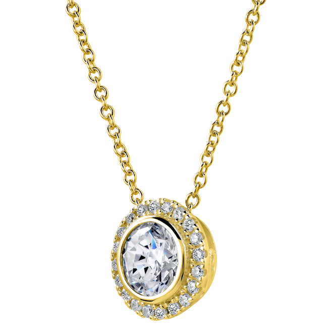 18 KGP 2 Carat Round Pendant Necklace with Halo