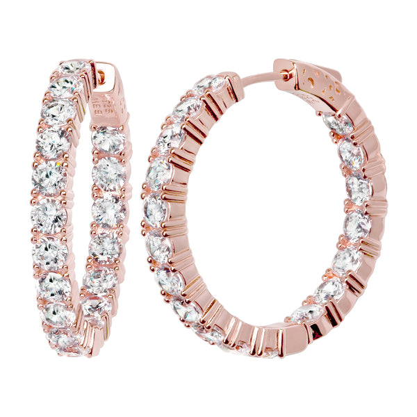 "18 KGP Rose Gold 1.25"" 4mm Double Sided In and Out Couture Hoops"