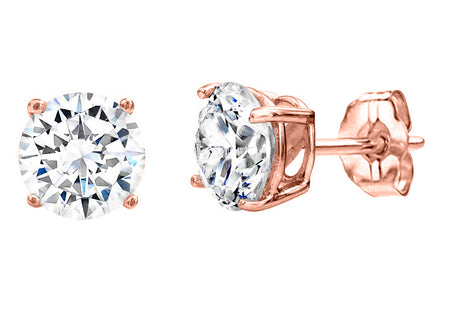 18 KGP Rose Gold 2 Carat 4 Prong Studs