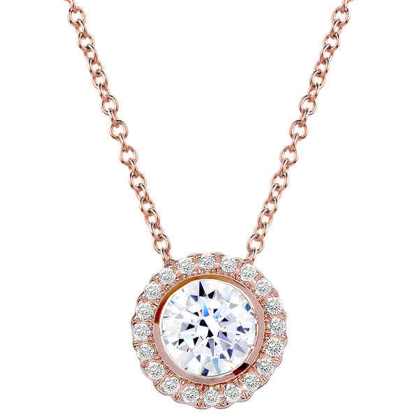 18 KGP Rose Gold 2 Carat Round Pendant Necklace with Halo