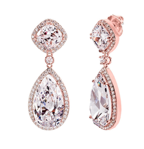 18 KGP Rose Gold Clear Palace Teardrops