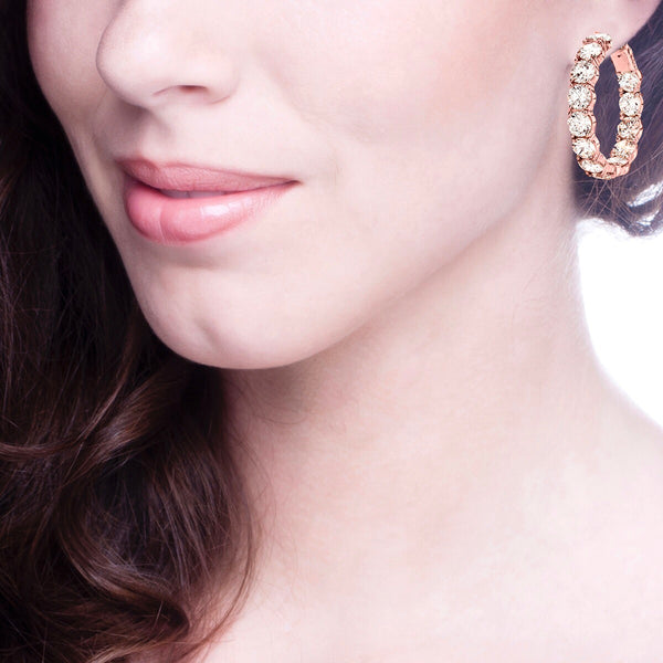18 KGP Rose Gold Large Stone Couture Hoops