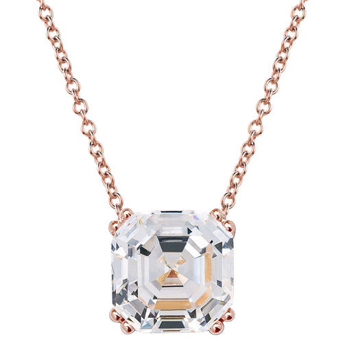 18 KGP Rose Gold Regal 2 Carat Solitaire Asscher Cut Necklace