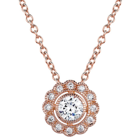 18 KGP Rose Gold Classic Tennis Necklace with Double Security Clasp 16.5''
