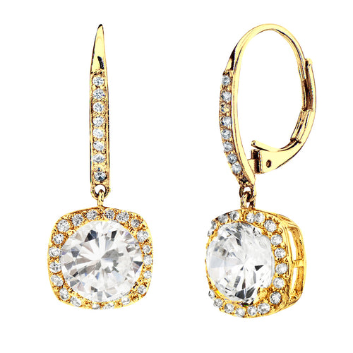 18 KGP 3 Carat Clear Cushion Cut Drops with Lever back
