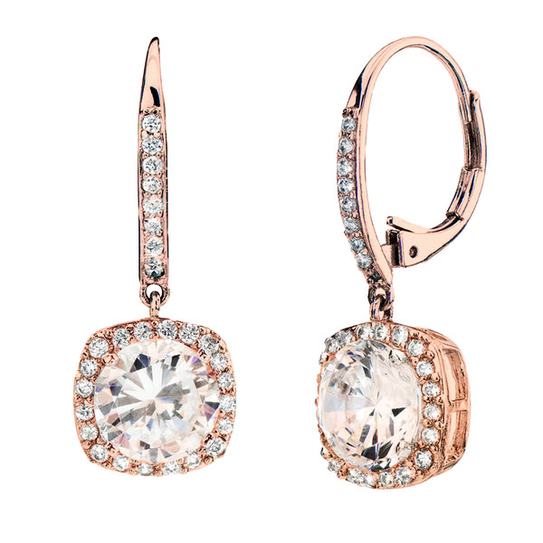 18 KGP Rose Gold 3 Carat Clear Cushion Cut Drops with Lever back