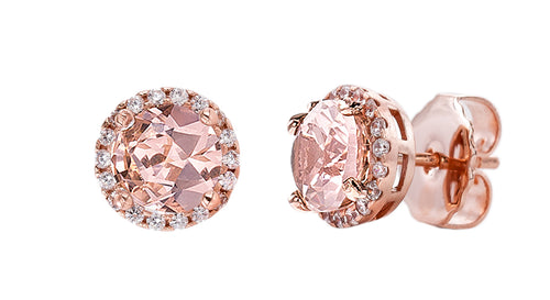 18 KGP Rose Gold 2.5 Carat Morganite Hued Round Studs with Halo