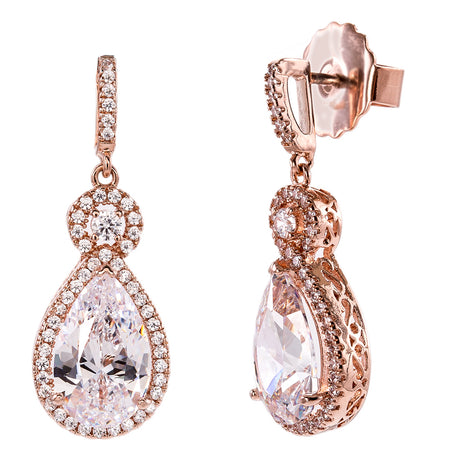 18 KGP Rose Gold 1.5 Carat Cushion Cut Studs with Ornate Side Detailing