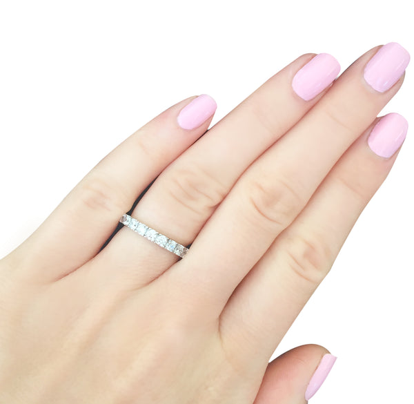 Sterling Silver 2.75mm Thin Round Eternity Ring Band