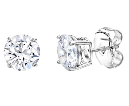 Silver 3 Carat Clear Cushion Cut Studs
