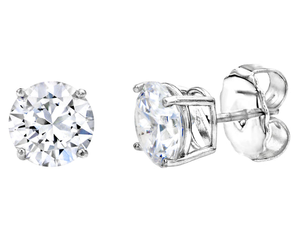 Sterling Silver 2 Carat 4 Prong Medium Solitaire Studs