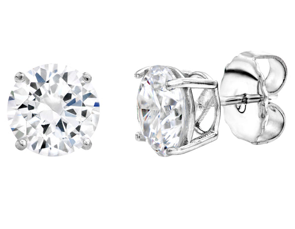 Sterling Silver 3 Carat 4 Prong Solitaire Studs