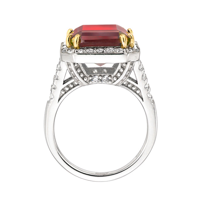 Sterling Silver 8 Carat Deep Crimson Emerald Cut Ring with 18 KGP Prongs