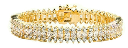 18 KGP Gold Floral Micro Pavé Cuff with Double Security Clasp