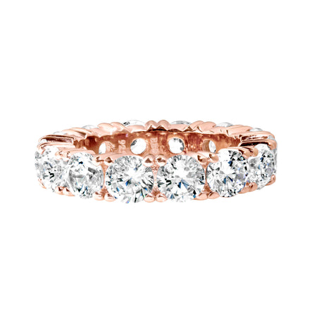 18 KGP Rose Gold 4 Prong Emerald Cut Eternity Ring Band