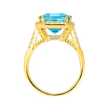 18 KGP 8 Carat Blue Topaz Emerald Cut Ring