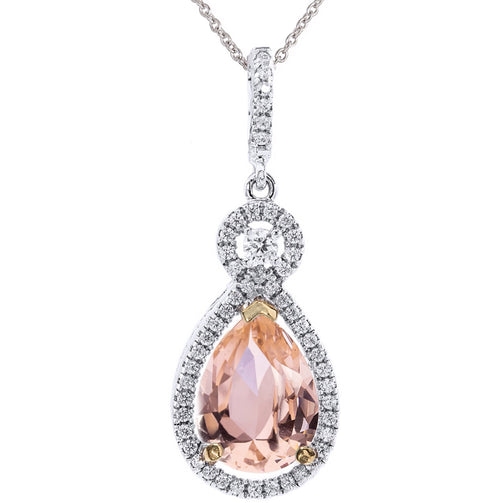 Silver Morganite-Hued Victorian Pear Shaped Necklace with Halo and 18 KGP Prongs