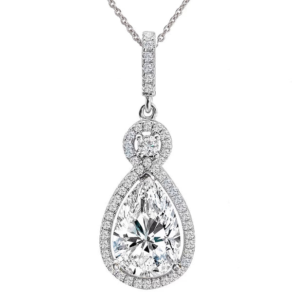 Silver Victorian Clear Pear-Shaped Necklace with Halo