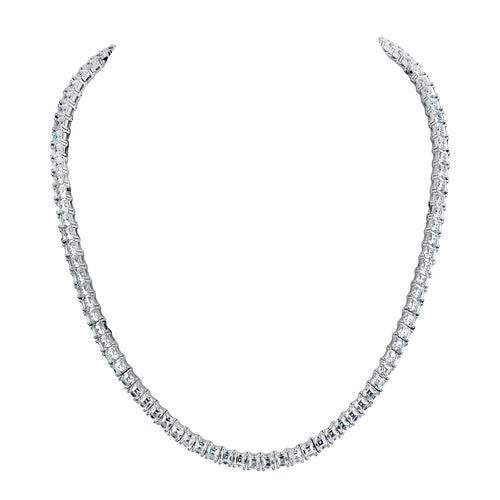 Silver Asscher-Cut Couture Tennis Necklace with Double Security Clasp 16.5""