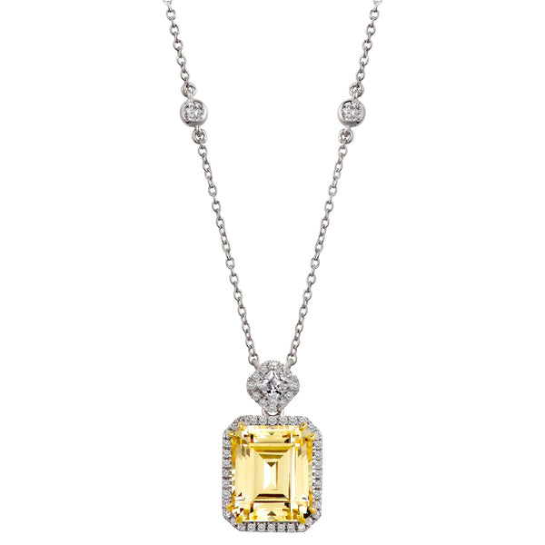 Silver Fancy Light Yellow Emerald Cut Station Necklace with 18 KGP Prongs