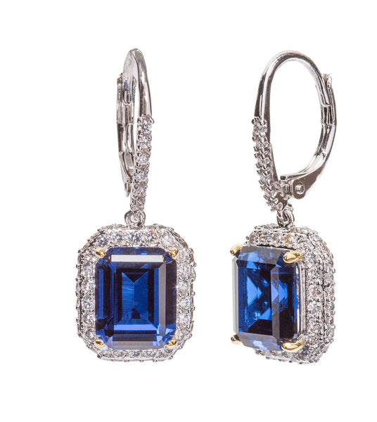 Silver Sapphire-Hued Emerald Cut Drops with Double Halo and Lever back