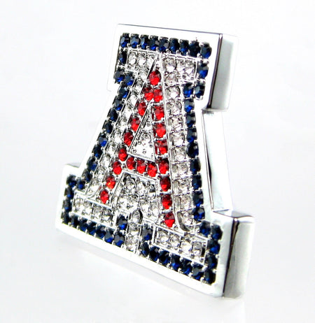 "Silver ""A"" Couture Swarovski Crystal Stud Earrings"
