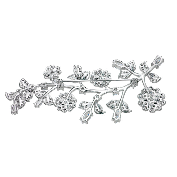 Silver Small Flowers Brooch