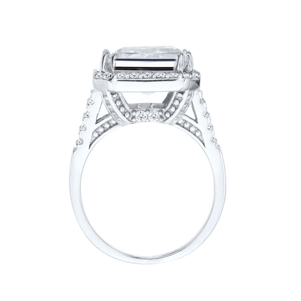 Sterling Silver 15 Carat Clear Geneva Emerald Cut Ring