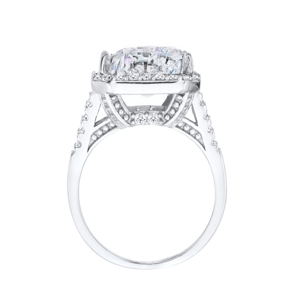 Sterling Silver 15 Carat Clear Geneva Fancy Radiant Cut Ring