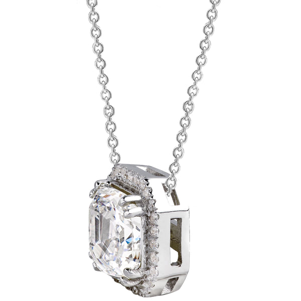 Sterling Silver 3 Carat Clear Asscher Cut Necklace with Halo