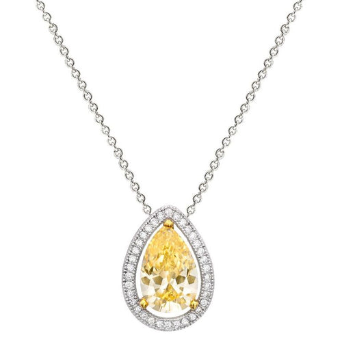Sterling Silver 4 Carat Yellow Pear Shaped Necklace with Halo and 18 KGP Prong