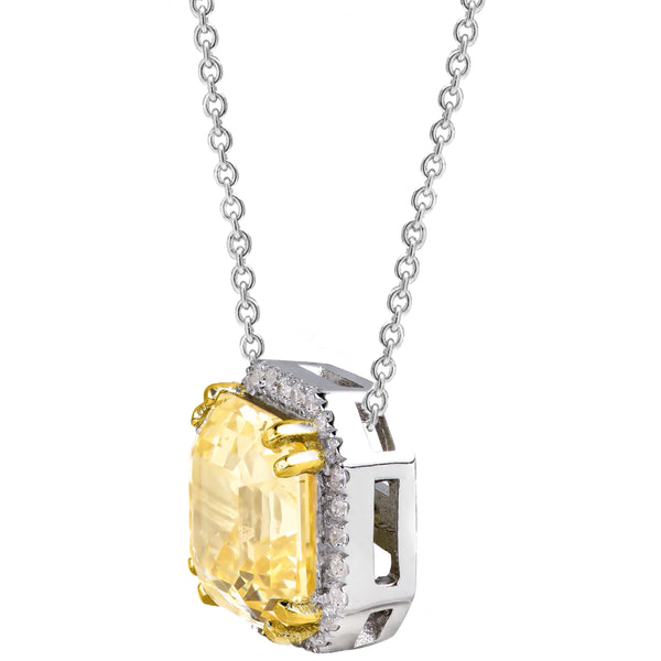Sterling Silver Fancy Light Yellow 3 Carat Asscher Cut Necklace with Halo and 18 KGP Prongs