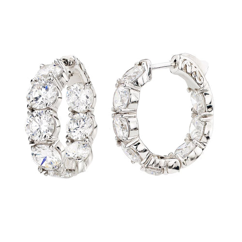 Sterling Silver Small Large Stone Couture Hoops