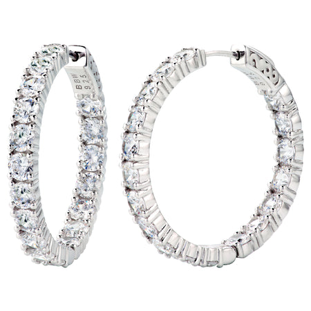 "18 KGP  1.25"" 4mm Double Sided In and Out Couture Hoops"
