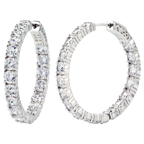"Sterling Silver 1.25"" 4mm Double Sided In and Out Couture Hoops"