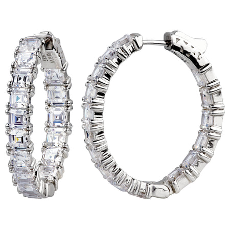 "18 KGP 1.25"" Asscher Cut Oval Couture Hoops"