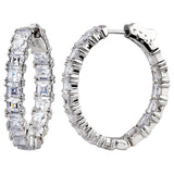 "Sterling Silver 1.25"" Asscher Cut Oval Couture Hoops"