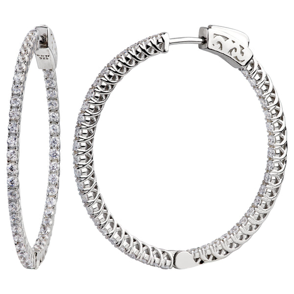 "Sterling Silver 1.25"" Thin in and Out Hoops with Filigree Setting"