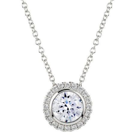 Sterling Silver 3 Carat Cushion Cut Floating Necklace with Halo
