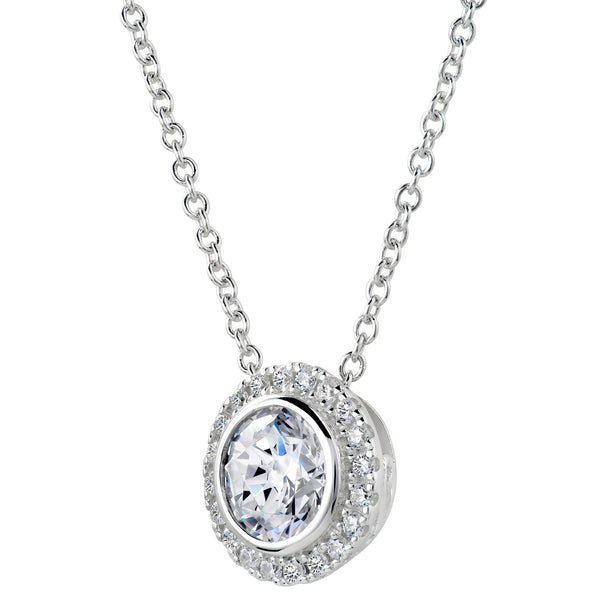 Sterling Silver 2 Carat Round Pendant Necklace with Halo