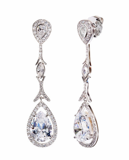 Silver Morganite-Hued Victorian Teardrops with 18 KGP Prongs