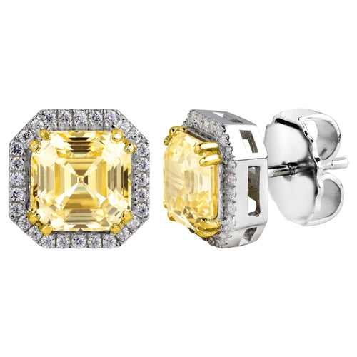Sterling Silver Fancy Light Yellow 3 Carat Asscher Cut Studs with Halo and 18 KGP Prongs
