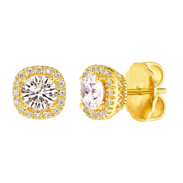 18 KGP 1.5 Carat Cushion Cut Studs with Ornate Side Detailing