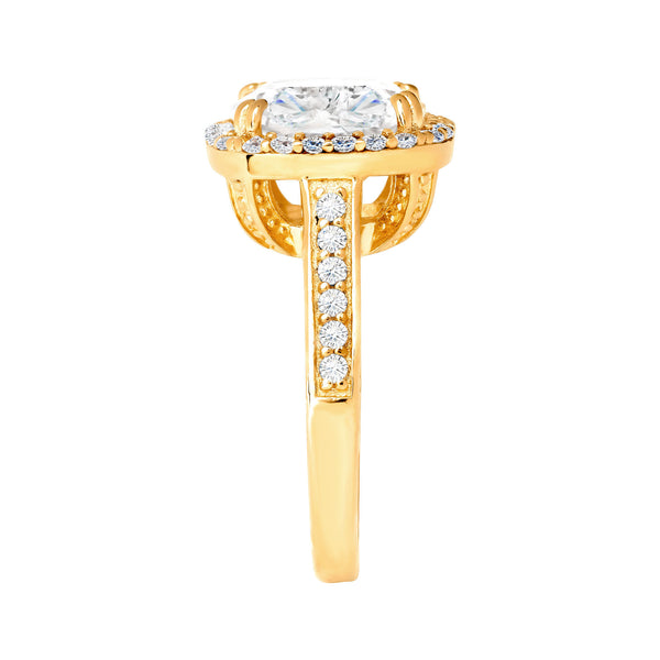 18 KGP 3.5 Carat Square Cushion Cut Ring